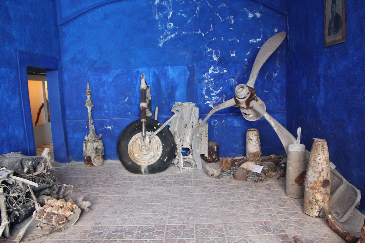 Remains of a plane recovered from the sea the Vlihadia Museum in Kalymnos