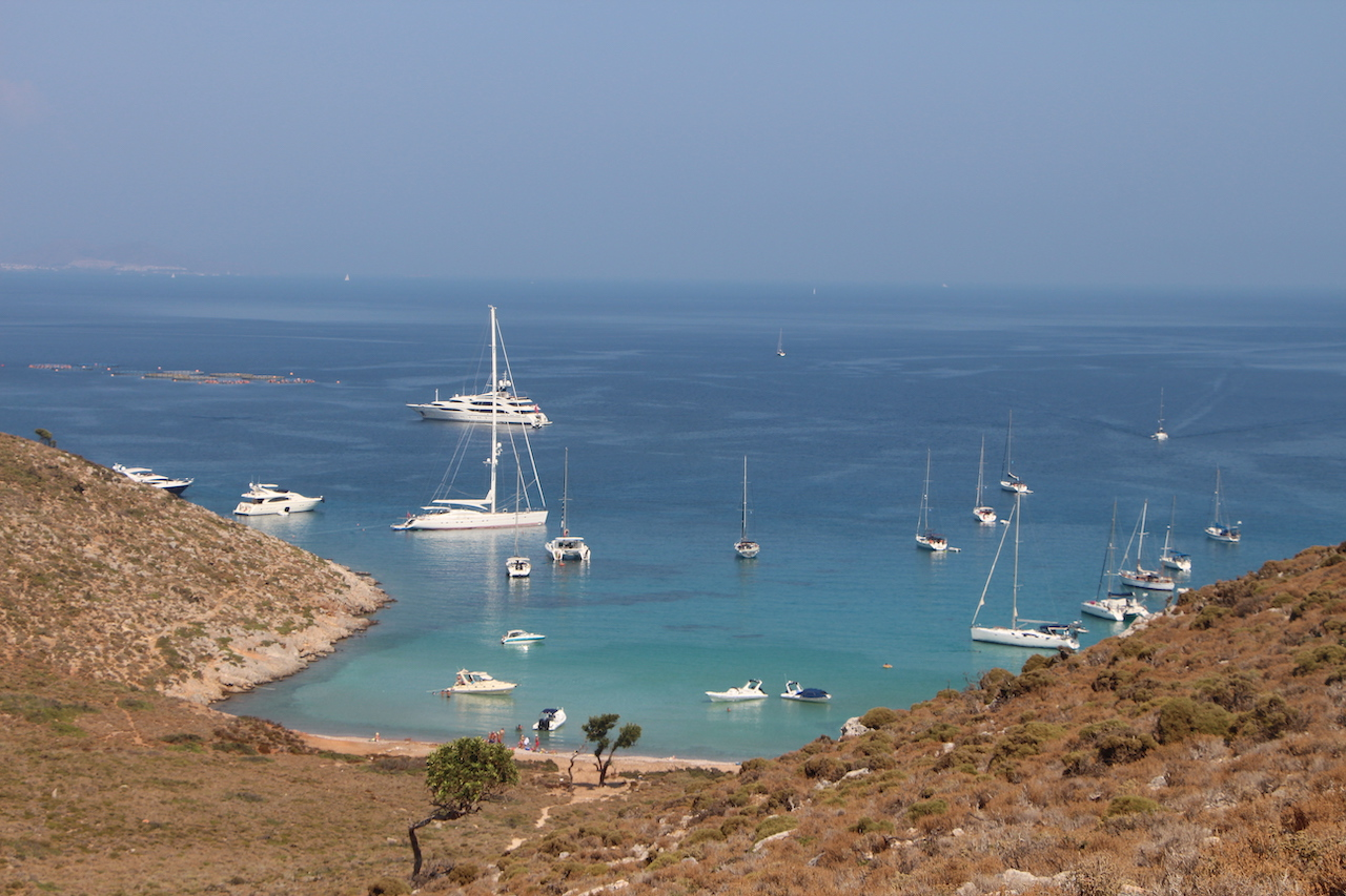 Sailing boats in the bay of Vathi in Pserimos